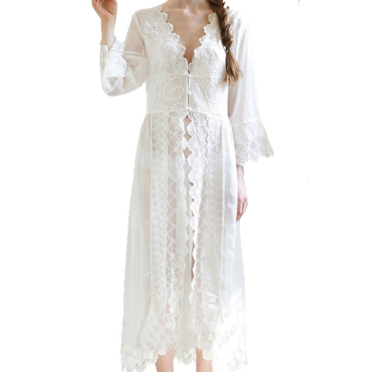 Cityelf Women's Sexy Clear Chiffon Vintage Maxi Pretty Lace Sleepwear SYW0002 0