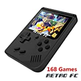 FLYFISH Handheld Game Console, Retro FC Game Console 3 Inch 168 Classic Games , Birthday Present for Children -Black (Color: Black, Tamaño: MINI Retro)