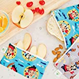 Bumkins Disney Baby Reusable Snack Bag, Jake and The Neverland Pirates, Small, 2 Count