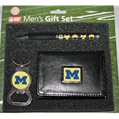 Michigan Wolverines Leather TriFold Wallet with Pen & Keychain Gift Set by Team Sports America