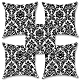 "Black And White Floral 16''x16"" Inches Set Of Five Cushion Cover By BS"