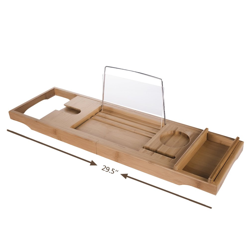 "HiCollie Craft Natural Bamboo Bathtub Caddy /Bath Tub Tray Organizer with Adjustable Sides Expand to 43"" Stainless Steel Book Holder Acrylic Dam-board Phone Slots Glass Holder"