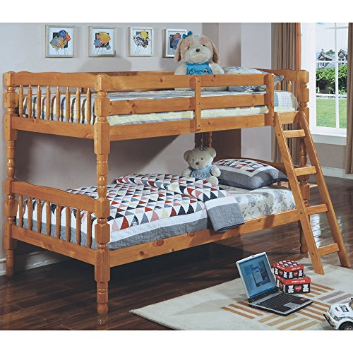 Monarch Specialties Wood Bunk Bed With Ladder, Twin, Honey Oak front-541571