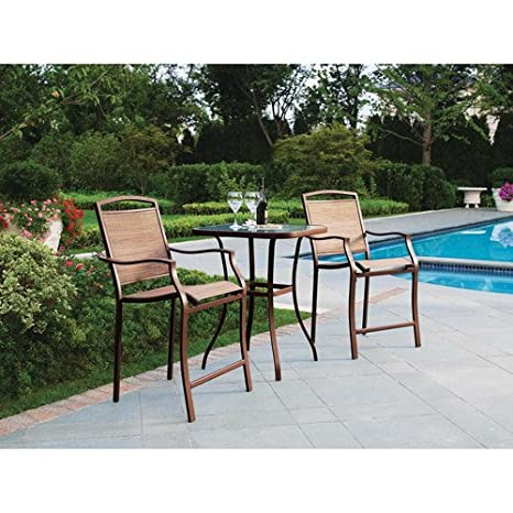 3 Pc Bar Chairs and Table Outdoor Patio Garden Bistro Furniture Set Steel and gl
