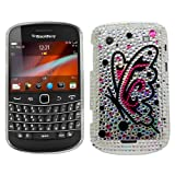 Samrick Butterfly Gem Handmade Crystal Gemstone Rhinestone Bling Diamante Protective Case for Blackberry 9900/9930 Bold Touch - Silver/Pink