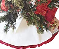 48″ Christmas Tree Skirt Cream Cotton…