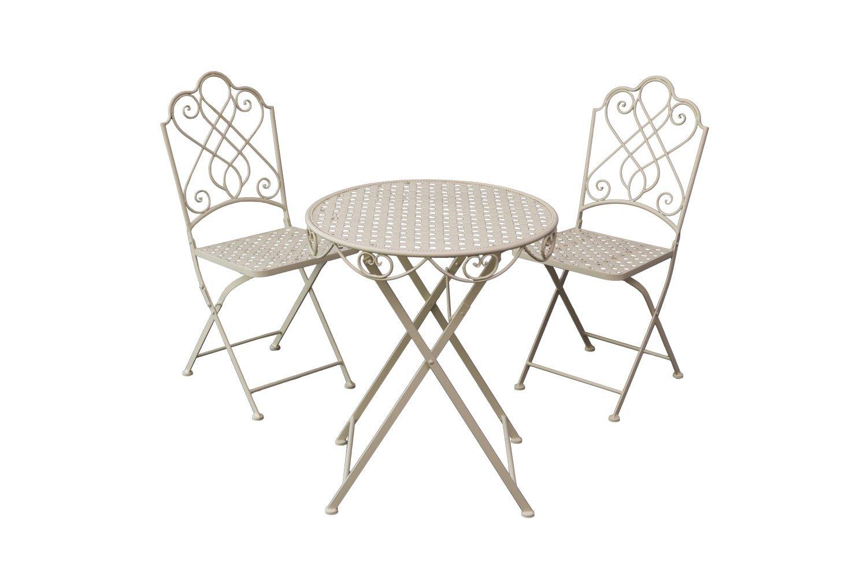 Pulverbeschichtetes Bistro Set Garten Garnitur Sitzgruppe 2 Stühle Tisch Metall Garten Möbelset creme oder braun (creme)