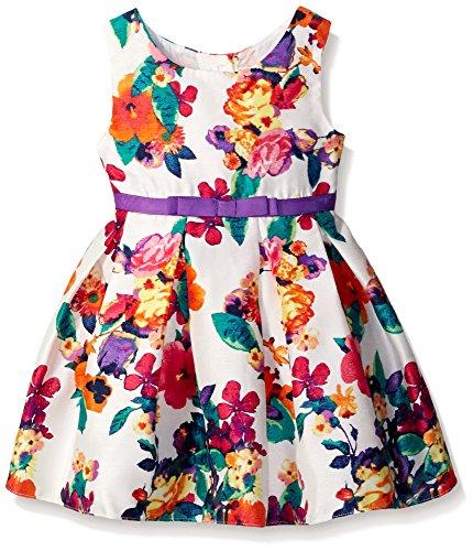 [Sweet Heart Rose Little Girls Sleeveless Floral Shantung Dress with Bow, Ivory/Multi, 6] (Sweetheart Girl)