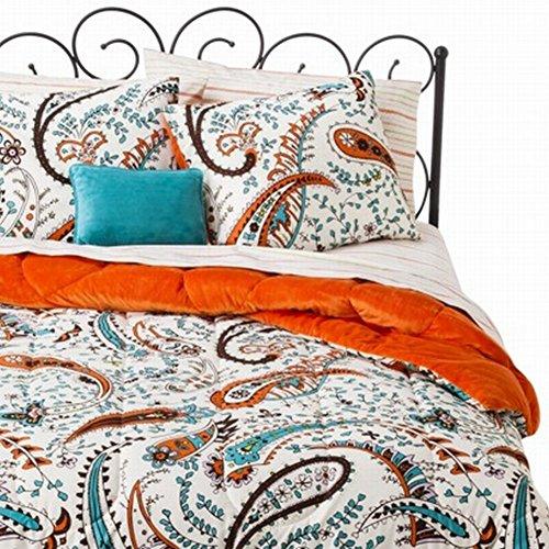 Xhilaration Twin Bed In Bag Orange Blue Paisley Comforter Sheet Sham & Pillow front-289100