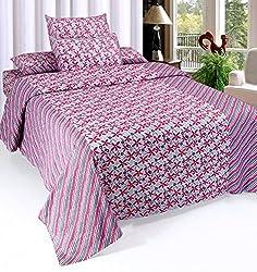 Optimistic Home Furnishing 140 TC Cotton 3 Piece Double Bedding Set -Purple