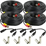 Amcrest 4-Pack 100 Feet Pre-Made All-in-One Siamese BNC Video and Power CCTV Security Camera Cable with Two Female Connectors for 960H & HD-CVI Camera and DVR (SCABLEHD100B-4pack)