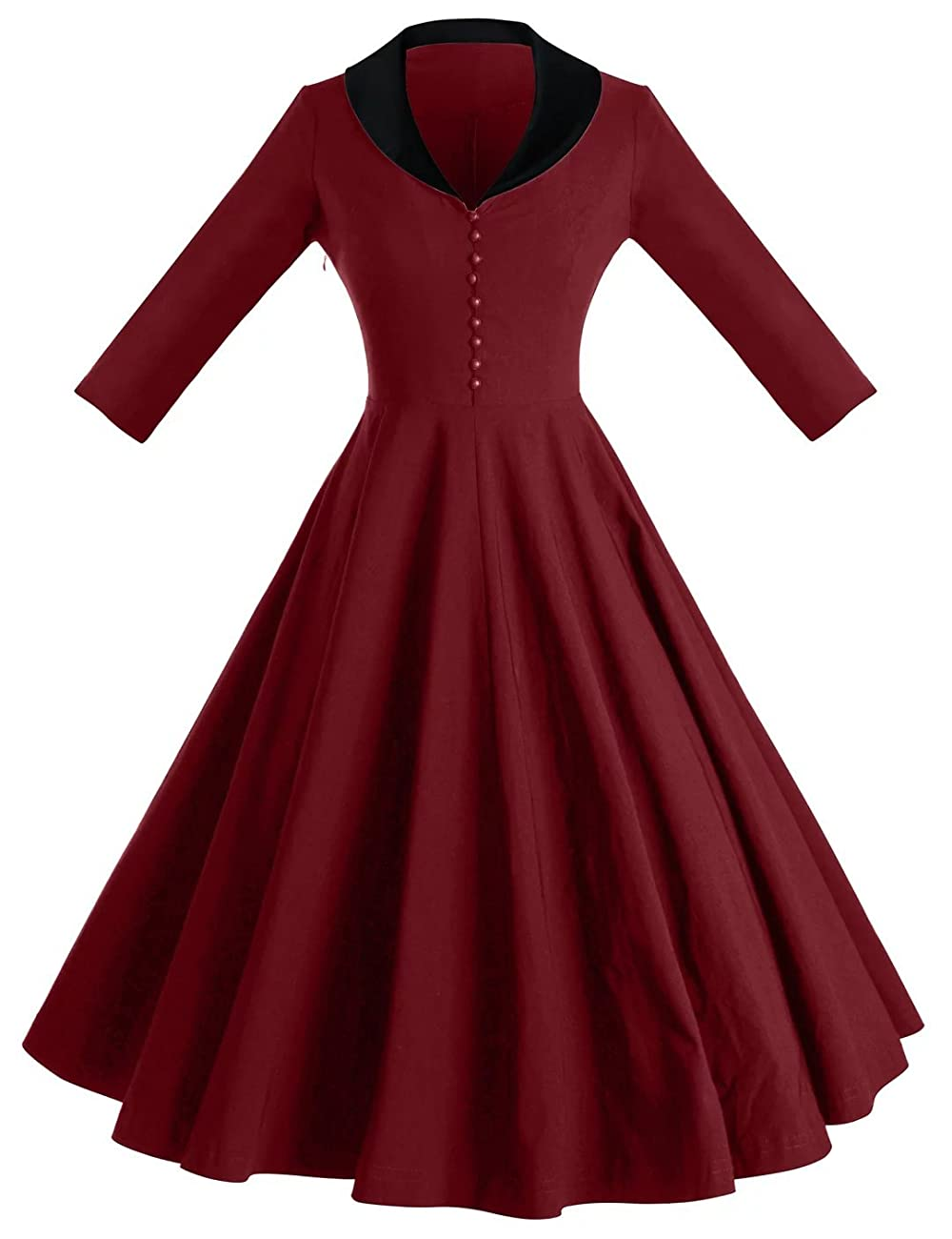 GownTown Womens Dresses cape collar 3/4 Sleeves 1950s Vintage Dresses Swing Stretchy Dresses 0