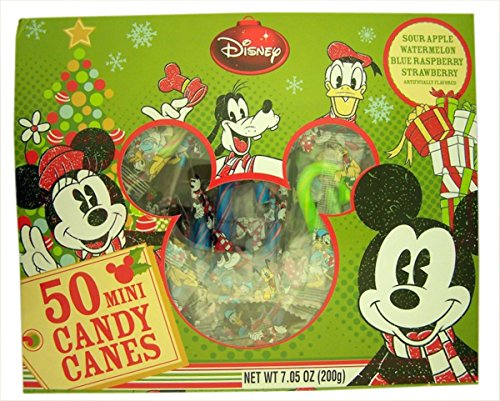 2016 Disney Mickey Mouse Fruit Flavored Mini Christmas Candy Cane, Pack of 50, 7.05 oz (Candy Canes Mini compare prices)