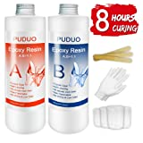 Epoxy Resin Crystal Clear- Fast Drying for Art, Jewelry, Crafts, River Tables Resin - 32 Oz Kit | Bonus 4 pcs Graduated Cups, 3pcs Sticks, 1 Pair Rubber Gloves (Tamaño: fast curing-32oz)