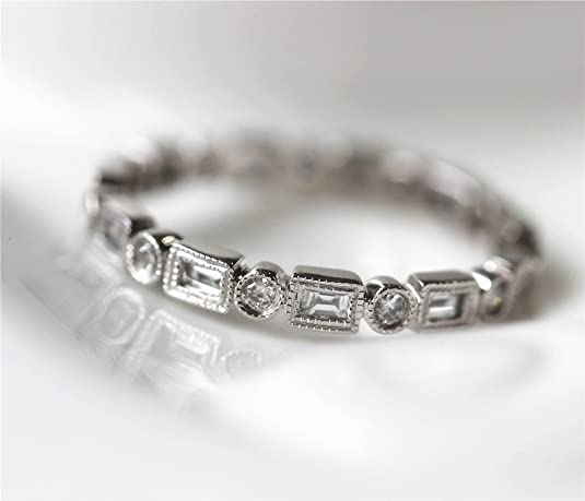 Voguegem Engagement Baguette/Round .77ctw Diamonds 14k White Gold Wedding Eternity Band Ring Unique