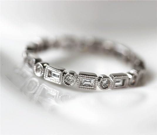 Voguegem Engagement Baguette/Round .77ctw Diamonds 14k White Gold Wedding Eternity Band Ring Unique