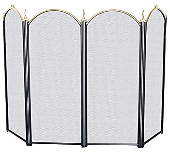 Amagabeli 4-panel Basic Wrought Iron Arch Fireplace Screen Fire Screen Golden Black Finish 32-inch High from F&T