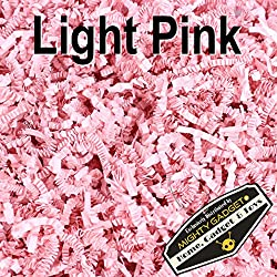 Mighty Gadget (R) 1/2 LB Crinkle Cut Paper Shred Filler for Gift Wrapping & Basket Filling - Light Pink