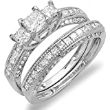 1.75 Carat (ctw) 14k White Gold Princess & Round Diamond Ladies Bridal 3 Stone Ring Wedding Set 1 3/4 CT