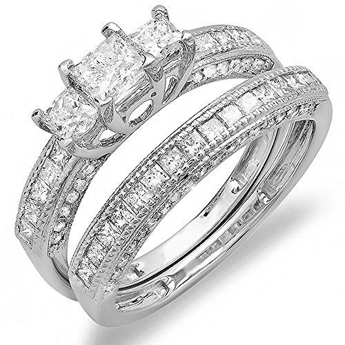 Price Comparisons 1.75 Carat (ctw) 14k White Gold Princess and Round Diamond Ladies Bridal 3 Stone Ring Engagement Matching Wedding Set 1 3/4 CT (Size 6.5)