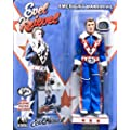Evel Knievel 8-Inch Action Figure Dressed In Blue Jumpsuit & Complete With Cane & Mini Graphic Poster