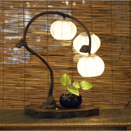 Mulberry Rice Paper Ball Handmade Three Fruit Design Art Shade White Round Globe Lantern Brown Asian Oriental Decorative Bedside Accent Unusual Home Decor Bedroom Table Desk Lamp