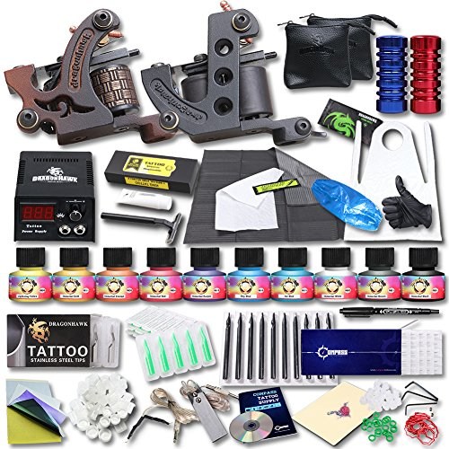 YUDO Complete Tattoo Kit 2 Pro Machine Guns 10 USA brand Inks Power Supply Foot Pedal Needles Grips Tips KT-2EU