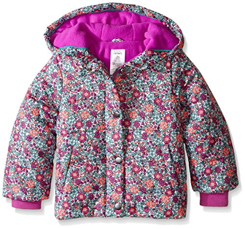 Carter's Little Girls' Puffer Coat in Print, Purple Floral, 4T