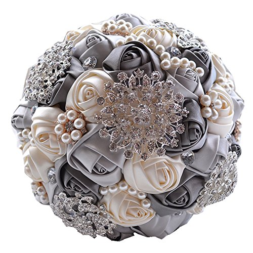 [MY DARLING] Advanced Customization Romantic Bride Wedding Holding Bouquet Roses Multi-color Selection-gray
