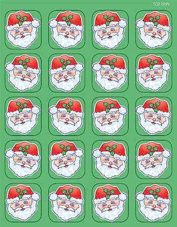 20 Pack TEACHER CREATED RESOURCES SANTA STICKERS