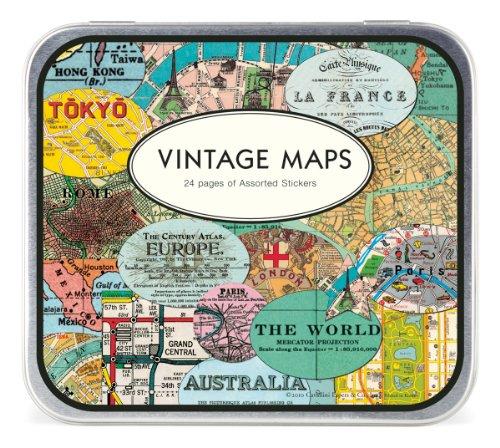 Cavallini Decorative Stickers Vintage Maps, Assorted (Vintage Map Paper compare prices)