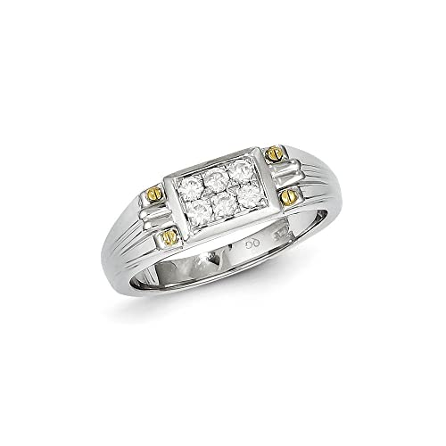 Sterling Silver and Gold Plated Diamond Men's Ring