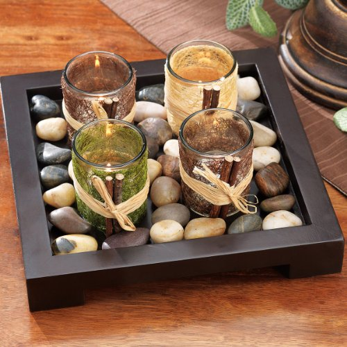 Four (4) Decorative Votive Candle Holders on Wooden Tray and Rock Accents Gift Set
