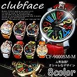 腕時計 メンズ clubface クラブフェイス CF-9000SM-multi マルチ 革ベルト GaGa MILANO ガガミラノ風 (イエローベルト×ホワイトフェイス)