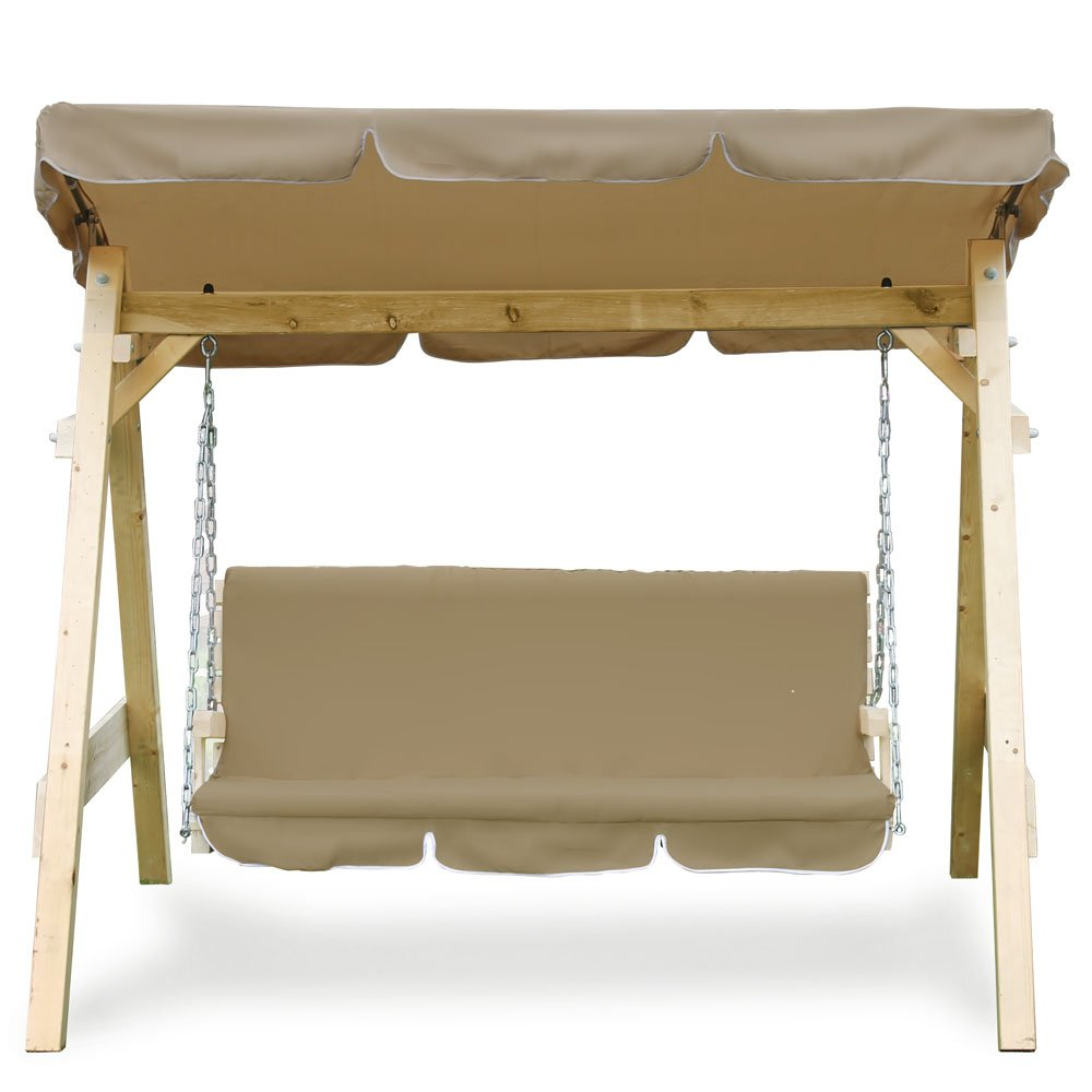 Hollywoodschaukel Audrey Holz Gartenschaukel Schaukel Gartenmöbel 3-Sitzer (beige) kaufen