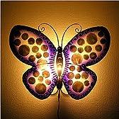 アジアン雑貨 【壁掛け】 レジンのペンダント ランプ 『蝶』 紫・白