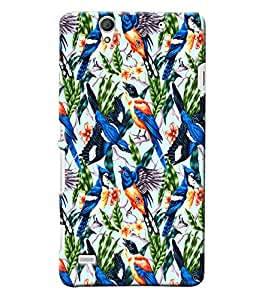 Blue Throat Bird And Flower Pattern Printed Designer Back Cover/ Case For Sony Xperia C4
