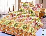 Casa Copenhagen Ista Blue Kite 7.5x8.25ft Cotton Double Bedsheet With 2 Pillow Covers - Yellow,Orange & Green