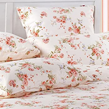 Sisbay Girls Vintage Floral Bedding,Rural Red Rose Garden Duvet Cover,Wedding Fragrant Fashion Bed Set,Queen King,4pcs