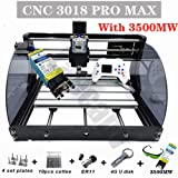 Upgrade CNC 3018 Pro MAX GRBL - 3 Axis PCB PVC Milling Router Engraving Machine with Protected Board - DIY Wooden Router Engraver Cutter Mini PCB Recorder Offline Support (Color: white, Tamaño: 3500MW)