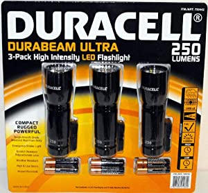 Duracell Durabeam Ultra 250 Lumens High-Intensity LED Flashlight, 3-Pack by Duracell