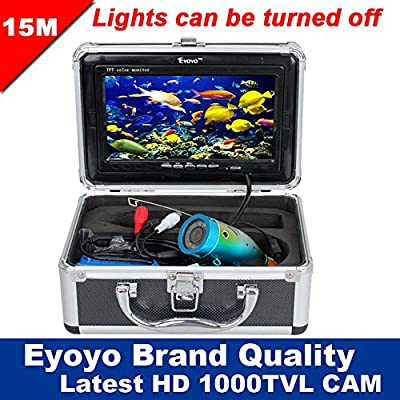 "Eyoyo Original 15m Professional Fish Finder Underwater Fishing Video Camera 7"" Color HD Monitor 1000TVL HD CAM Lights Control"