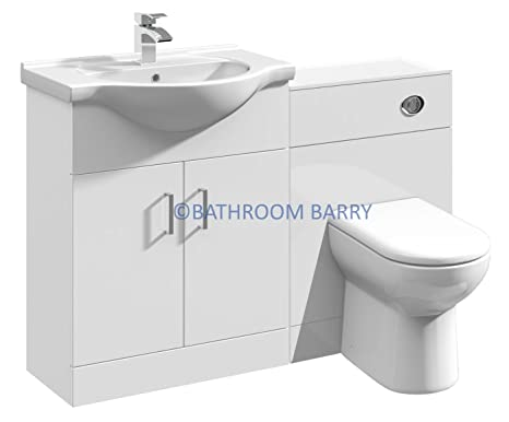 1150mm Modular High Gloss White Bathroom Combination Vanity Basin Sink Cabinet, WC Toilet Furniture & BTW Pan