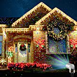 Starry Laser Lights Projection Christmas Lights Moving Laser FDA Approved Star Projector Landscape Lights with RF Wireless Remote (Green & Blue)