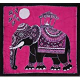 Batik Wall Hanging - Elephant (Hand made Batik Art) Pink Backgroundby Nethara