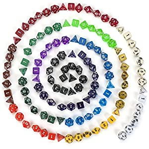 126 Polyhedral Dice By ASCT- Complete Sets Of Seven Dice In 18 Colors - d4, d6, d8, d10, d12, d20 Dice & Percentile % die - Ideal For Tabletop, Math, RPG, MTG & D & D Games - With Velvet Dice Pouch