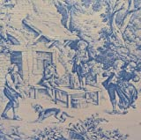 Toile de Jouy Fabric Blue Authentic French Designer 100 Cotton Print 140cms 55 Wide sold by the metre