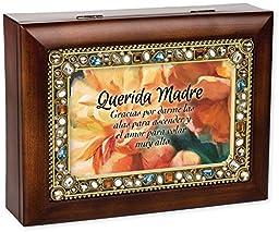 Querida Madre Dear Mother Jeweled Wood Grain Music Jewelry Box Keepsake - How Great Thou Art