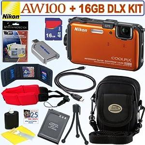 Nikon Coolpix AW100 16 MP CMOS Waterproof Digital Camera (Orange) + EN-EL12 Battery + 16GB Deluxe Accessory Kit