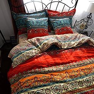 YOYOMALL 2015 New!Boho Style Duvet Cover Set,Colorful Stripe Sheet Sets,Bohemia Bedding Set 4Pcs Queen King Size. (King)